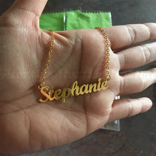 Personalised Letter Gold Choker Necklace Pendant Nameplate Gift