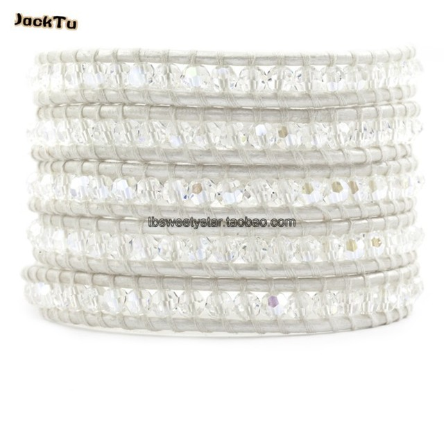 2017 clear crystal pearl leather wrap bracelet