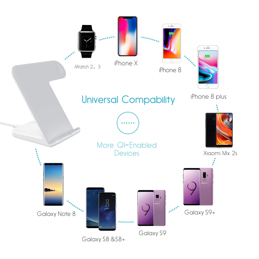 Image 2 - Ascromy QI Wireless Charger Dock Stand Holder For Aplle iWatch  Apple Watch 3 2 iPhone XS Max X S XR 8 Plus 8plus 11 Pro Docking  StationPhone Holders