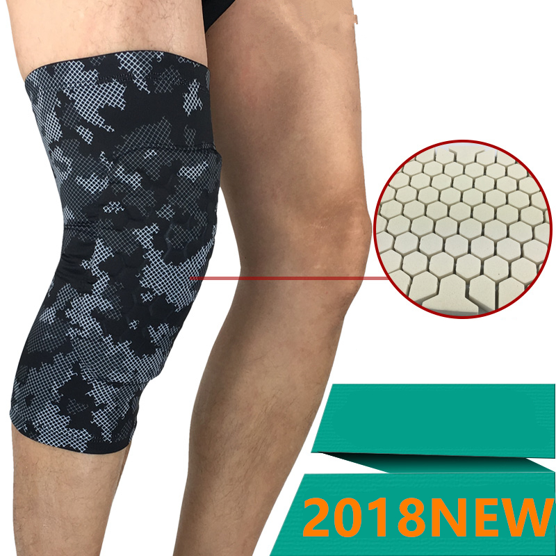 Sports Knee Pads Padded Compression Pro Knee Sleeves Football Basketball Honeycomb Knee Brace Leg Sleeve Calf Breathable Pads