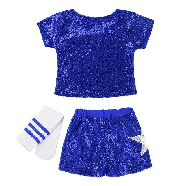 Kids Teens Stars Sequin Tops Shorts Socks Dance Set Children Girls Hip-hop Jazz Stage Street Dancing Cheerleader Costume 3