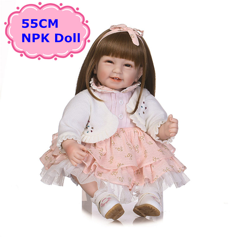 New Arrival NPK About 55cm Handmade Soft Silicone Bebe Reborn Baby Dolls With Soft Long Hair Wig As Toys for Girls BrinquedosNew Arrival NPK About 55cm Handmade Soft Silicone Bebe Reborn Baby Dolls With Soft Long Hair Wig As Toys for Girls Brinquedos