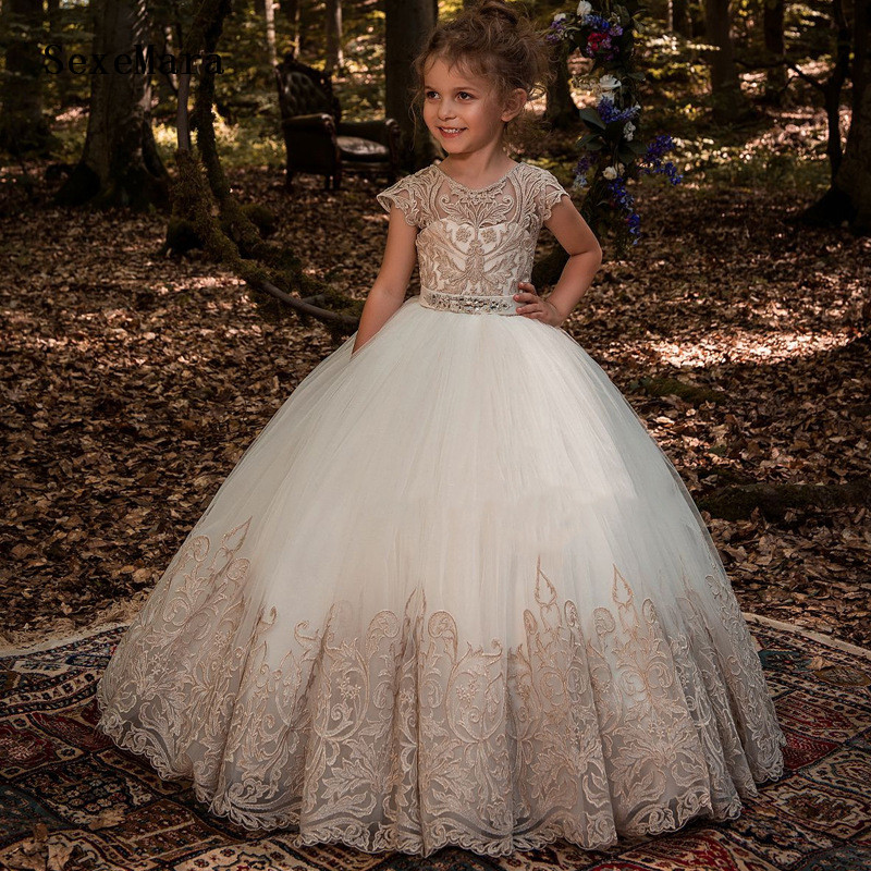 Princess Gold Lace Puffy Tulle   Flower     Girls     Dresses   For Wedding   Girls   First Communion   Dresses   Special Occasion Gowns Custom Size
