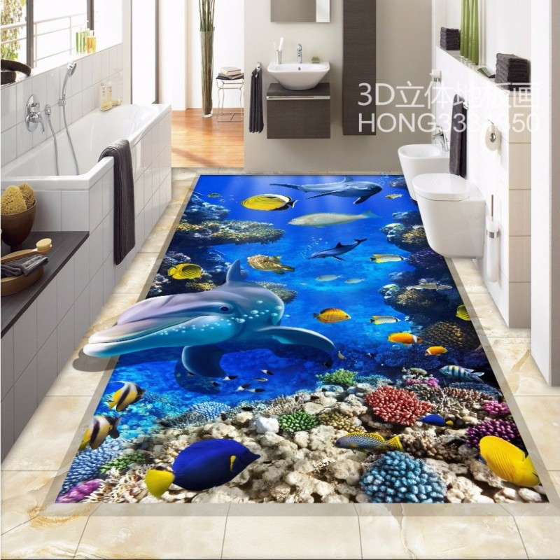Free Shipping 3D stereo marine world dolphin floor tiles decorative painting wear non-slip flooring living room wallpaper mural