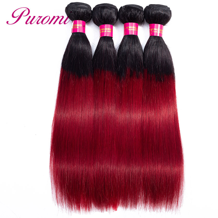Puromi Straight Human Hair Bundles Peruvian Bundles 4pcs/lot Hair Extensions Non Remy Ombre Hair Weave 1b/burgundy 10-26 inches