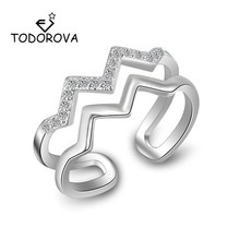Todorova Sparkling Geometric Double Layer Wave Finger Rings for Women Crystal Cubic Zircon Ring Adjustable Engagement Jewelry
