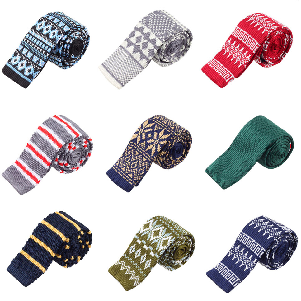 Knitted Ties For Men Striped Business Suite Corbatas Slim Mens Party Wedding Accessories Fashion Plaid Gravatas Formal Cravates