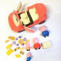 2.17 핑크 돼지 새로운 자동차 세트 식기 간식 플라스틱 아기 Pepeed 돼지 인형 장난감