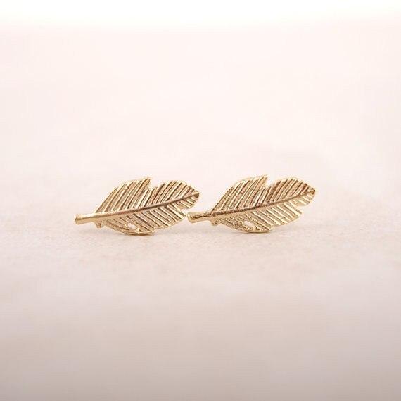 Jisensp Punk Leaf Earrings For Women Vintage Feather Stud Earring Femme 2018 Everyday Jewelry Party Gift Boucle D Oreille