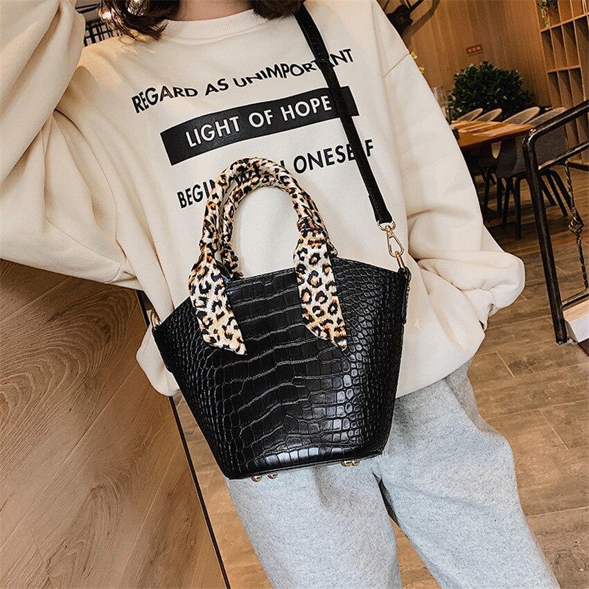 Women\'S Handbags Alligator Leather Ladies Messenger Bags Leaopard Scarf Shoulder Bags Designer Bucket Tote Bag Bolsa