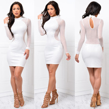 2019 summer women package hip ladies long sleeve pencil bandage dresses girl sexy & club party turtleneck perspective mini dress