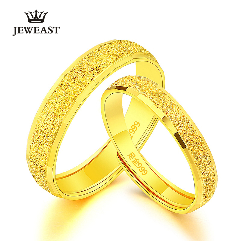 24K Pure Gold Ring Real AU 999 Solid Gold Rings Nice Simple Frosted Upscale Trendy Classic Party Fine Jewelry Hot Sell New 2018 24k gold ring flower female women mother wife lady girl 2017new hot sale fine jewelry trendy good nice top upscale real pure 999