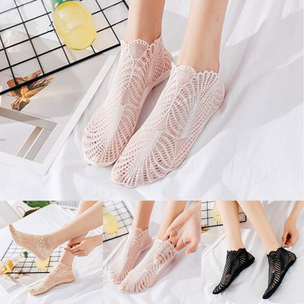 Comfortable Nylon Women Invisible Low Ankle   Socks   Women's Boat   Socks   Cotton Lace Stocks Sexy Mesh Female   Socks   kawaii A75