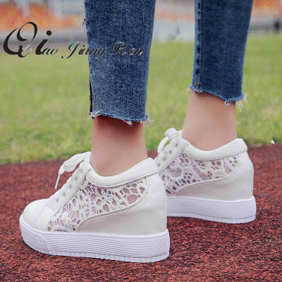 Women Shoes 2018 fashion summer casual Ladies Shoes cutouts lace canvas  hollow breathable platform flat Shoes woman sneakers 0fb676e69825