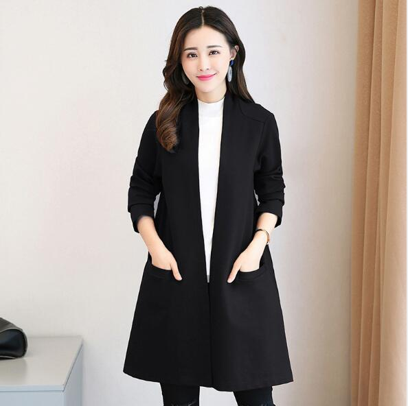 2019 Korean Style Women Brief Cardigan   Trench   Coat Ladies Work Clothes Plus Size Show Thin Coats Outwear Trenca Mujer Invierno