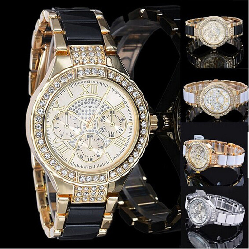 Vintage Luxury Clock Geneva Hour Rhinestone Crystal Women Ladies Diamond Quartz Wrist Watches Precise Time Montre