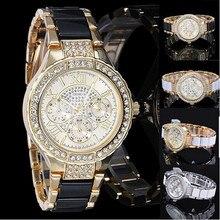 Vintage Luxury Clock Geneva Hour Rhinestone Crystal Women Ladies Diamond Quartz Wrist Watches Precise Time Montre