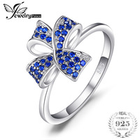 JewelryPalace Flower Knot 0 22ct Created Blue Spinels Pave Ring For Women 100 Real 925 Sterling