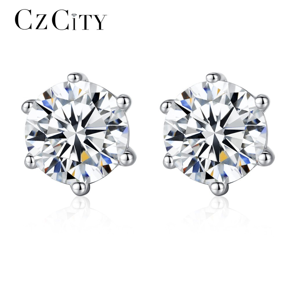 CZCITY Classic Small Stud Earrings for Women 925 Sterling Silver with One Carat Cubic Zirconia Six Paws Simple Earring Jewelry