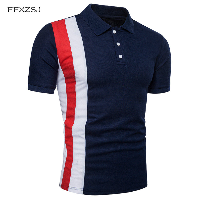 Men Navy Blue Striped   Polo   Shirt Plus Size S-2XL Fashion Slim Fit Casual   Polo   Shirt Men 2018 Summer Short Sleeve Mens   Polo