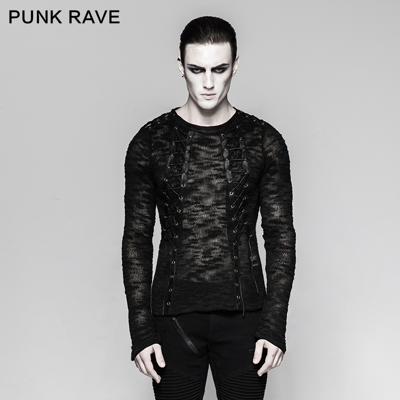 PUNK RAVE Men's Punk Sexy Hollow-out Strappy Sweater Gothic Steampunk Black Streetwear Shirt Casual Long Sleeve Top Sweater