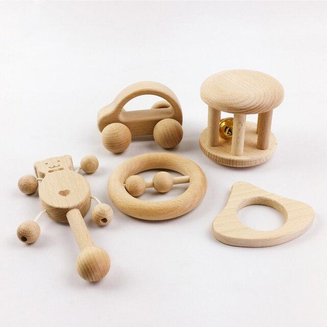 1 Set sans BPA bois dentition hêtre voiture forme pour bébés cadeaux meilleurs enfants cerveau jeu jouets à la main artisanat écologique enfant bloc