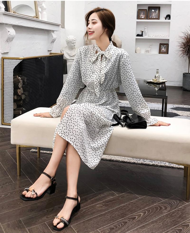 BGTEEVER Elegant Stand Collar Polka Dot Women Dress Flare Sleeve Side Split Female Dress 19 Autumn Women Midi Vestidos 9