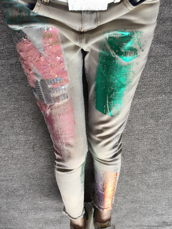 European Station Spring New Printing And Stamping Elastic Small Cuff Cowgirl Pink Color Sequins Female Jeans