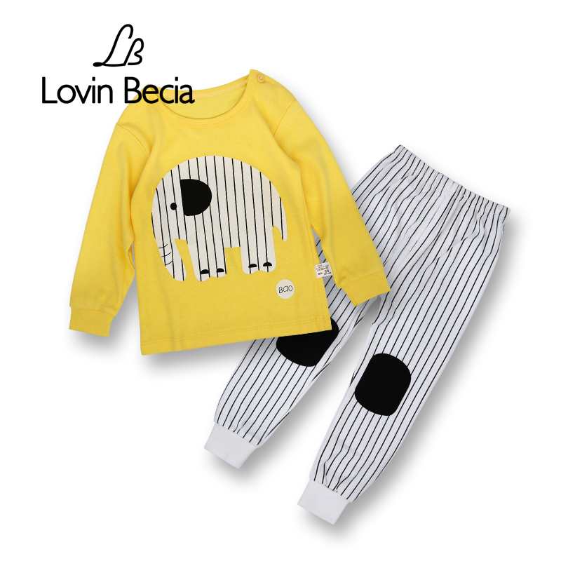 LovinBecia 2pcs Set Baby Underwear Boys Clothing Sets Cartoon Casual clothes Girls pajamas suits toddler infant kids tracksuit newborn baby boys clothing sets baby girls clothes cartoon aircraft blue whale short sleeve infant cotton underwear 2pcs set
