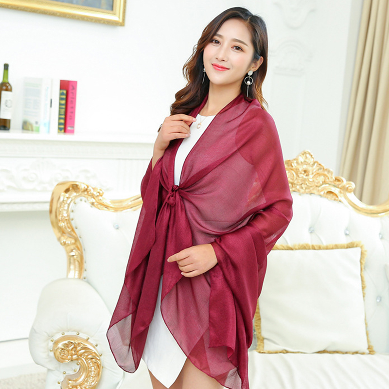 2019 New Women Long Scarf Multifunction Sunscreen Shawl Female Thin Simple Solid Color Beach Towel Pearl Scarf Shawl Decoration