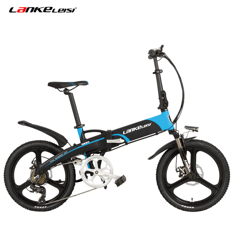 7 Speed Electric Bicycle, Portable 20 Inches 240W 48V 10Ah Folding Ebike, Integrated   Wheel, Hidden Lithium Battery