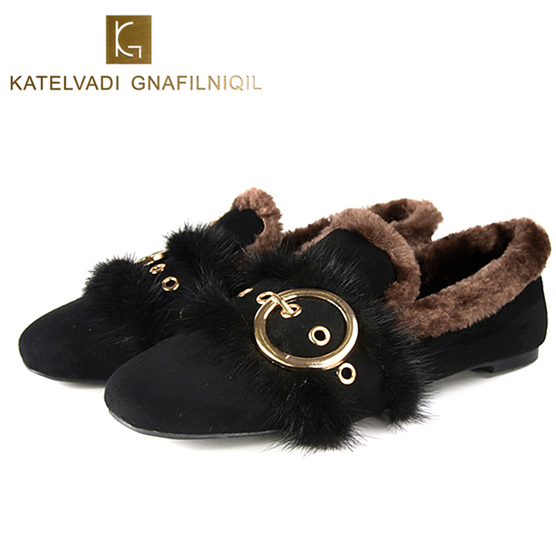 2018 Women Winter Shoes Flats Woman Casual Loafers Black Flock Snow Shoes With Fur Square Toe Ladies Casual Warm Shoes K-080 slhjc 2017 autumn flat heel shoes pointed toe women flats with metal chain real fur loafers work shoes d25