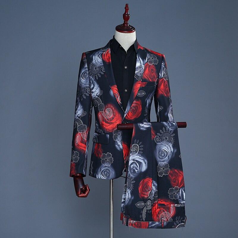 (Спереди + брюки) Новый мужской костюм для свадебной фотосъемки мужской костюм для сцены фото Досуг розовый принт костюм