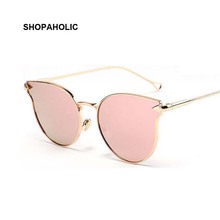 New Vintage Cat Eye Sunglasses Women Fashion Rose Gold Mirror Sun Glasses for Female Unique Flat Retro Ladies Sunglasses Oculos
