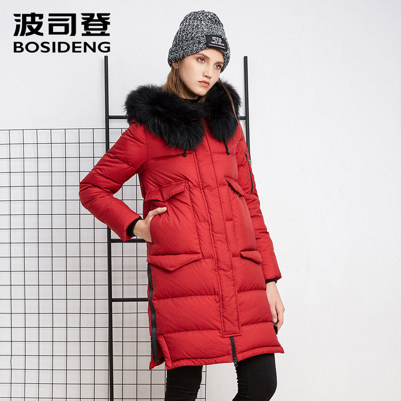 BOSIDENG New Winter Collection Womens mid-Length down Jacket Warm Jacket Coat for Women real fur High Quality B1601134