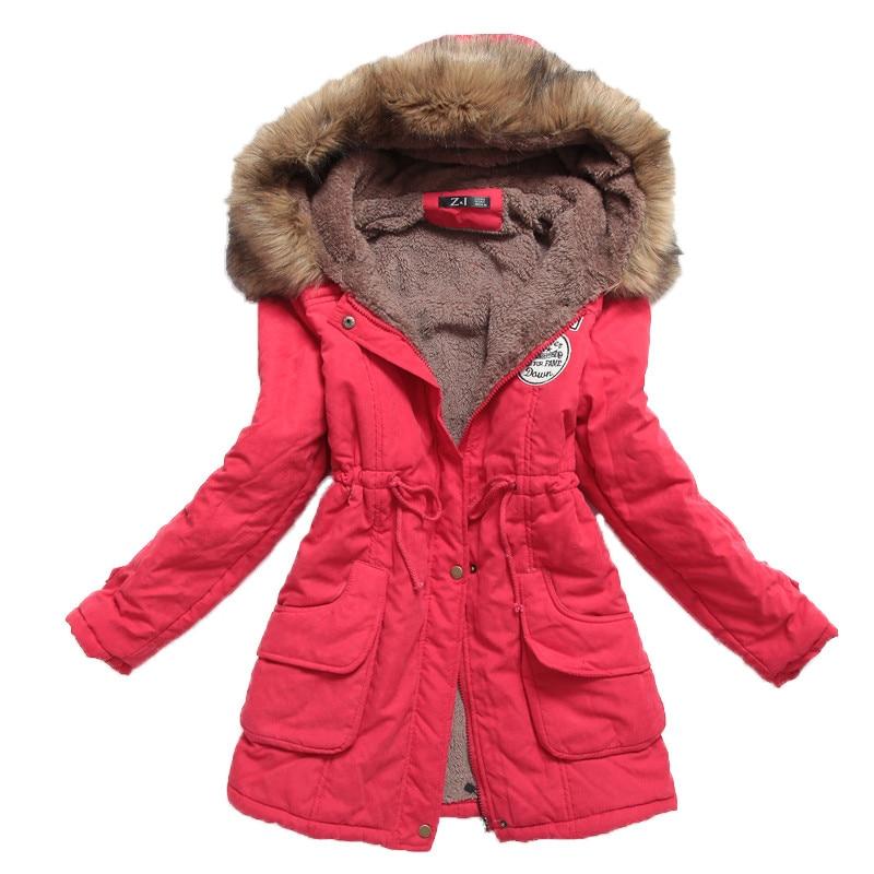 ФОТО New Women Outwear Medium-Long Jacket Thicken Plus Size Hooded Wadded Coat Slim Overcoat Parka Cotton Winter Padded Jacket   YY37