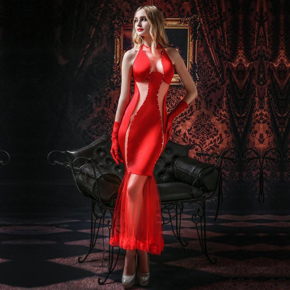 MQUPIN Sexy lune de miel femmes rouge sirène robes exotiques maille longue solide trompette Robe de haute qualité nuit de mariage Lingerie