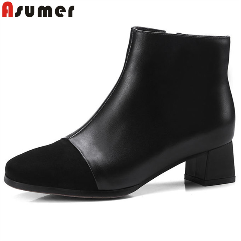 все цены на ASUMER 2018 fashion boots women square toe zip thick heels genuine leather boots elegant ladies ankle boots classic prom shoes