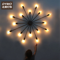 Designer loft retro industrial wind Cafe living room wall lamp personality multi head bar table iron wall lamp