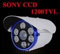 Frete grátis 2016 novo sony ccd impermeável ao ar livre câmera de cctv 1200tvl high definition ir distância de 100 metros