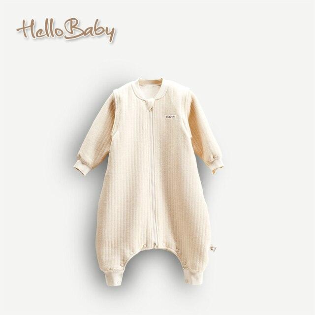 Natural environment Organic cotton baby coveralls Romper sleeping bag sleeping bag zipper long sleeve warm sleeping bag