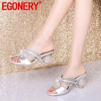 EGONERY woman shoes summer newest fashion sexy open toe crystal woman slippers outside high heels black and silver ladies shoes