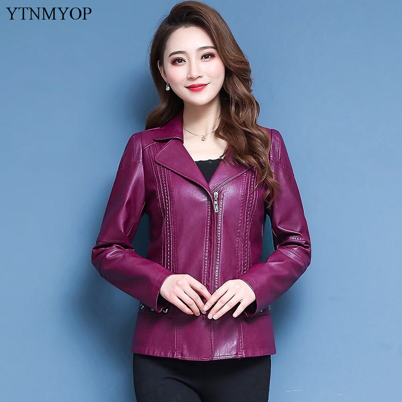 YTNMYOP Base Slim Casual Female Leather Coat Women Leather Jackets Plus Sizes 5XL Turn-down Collar Faux Leather Suede Tops