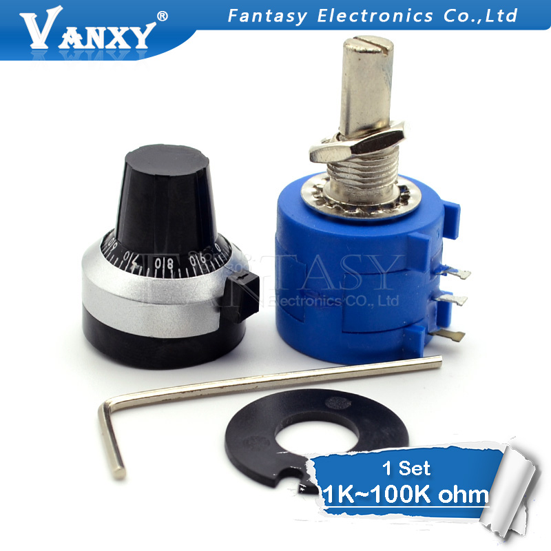 3590S-2 3590S Series  Precision Multiturn Potentiometer 10 Ring Adjustable Resistor+1PCS Turns Counting Dial Rotary 6.35mm Knob