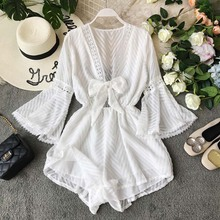 Bohemian vacation V-neck chest strap trumpet long sleeve pants show thin broad-legged shorts beach jumpsuit rompers summer