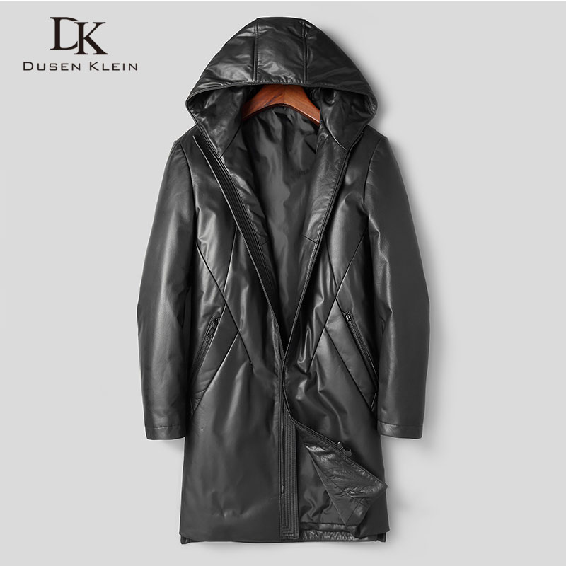Men's Genuine Leather Jacket Winter Warm Down Coat Long Hooded Outerwear Cow Leather 2018 New Designer Brand Luxury X89811