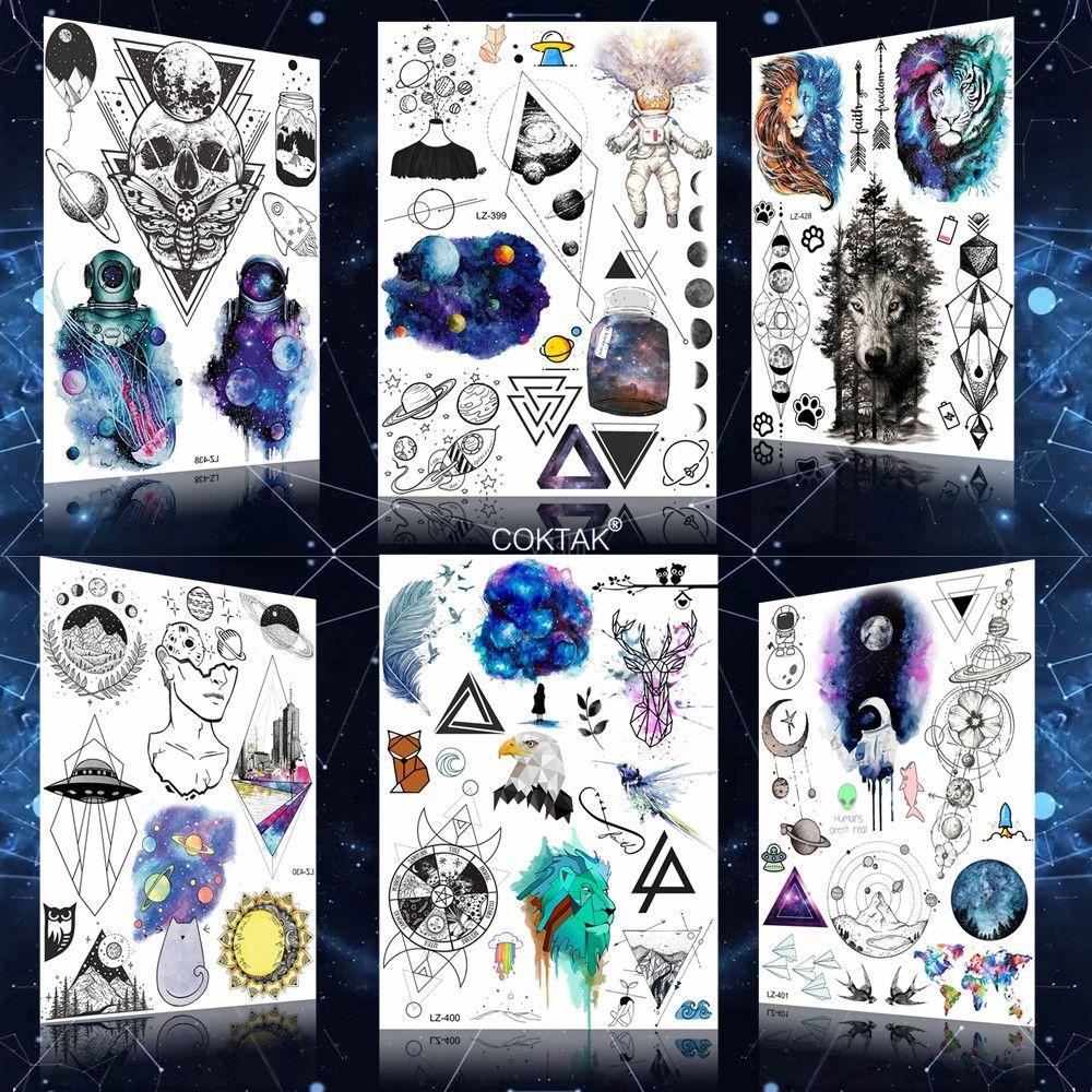 Galaxy Geometric Cosmonaut Flash Lion Temporary Tattoos Stickers Sky Bottle Waterrproof Tattoo Fake Women Men Stars Tatoo Decals