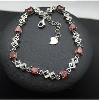 Гранатовый браслет цепи Бесплатная доставка натуральным Красный Гранат 925 Серебро Роскошные браслеты размер камень: 4*6 мм 8 шт.