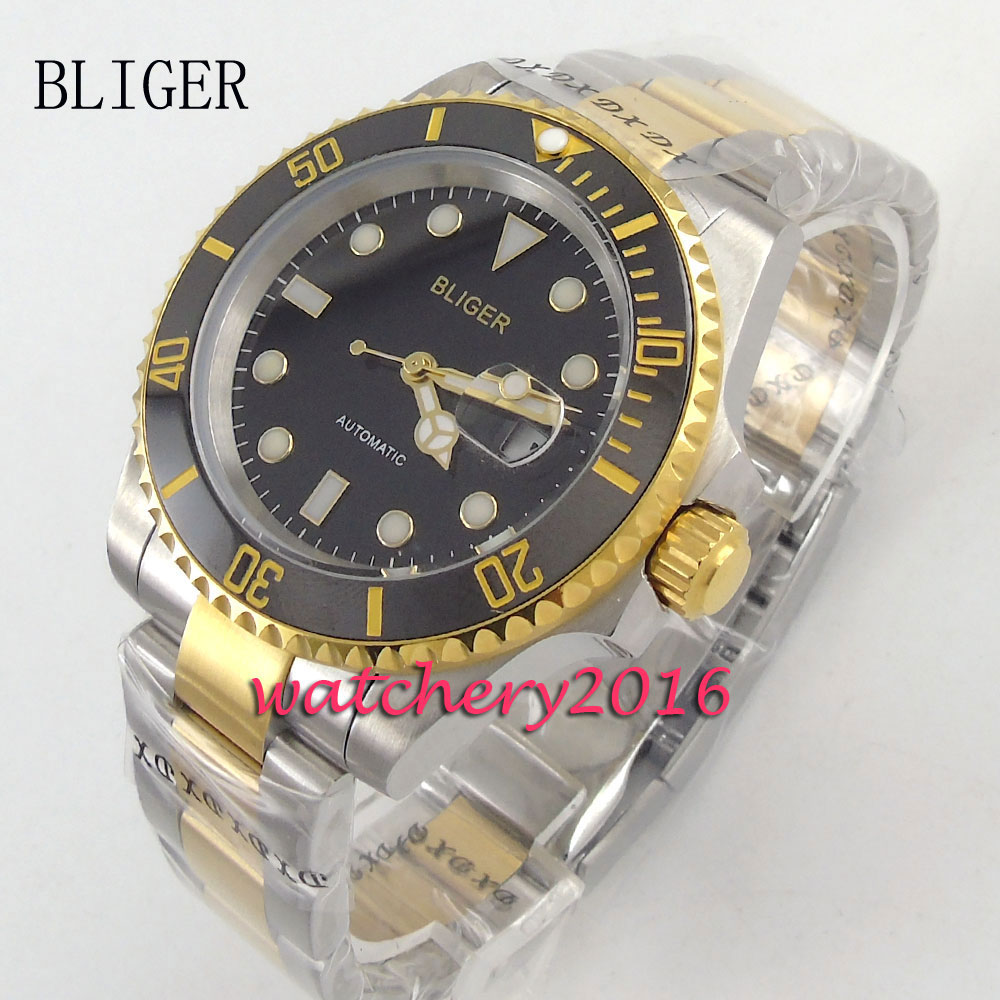 40mm bliger black dial golden plated Luminous Marks Mens miyota Sapphire glass Automatic movement Mechanical Wristwatches