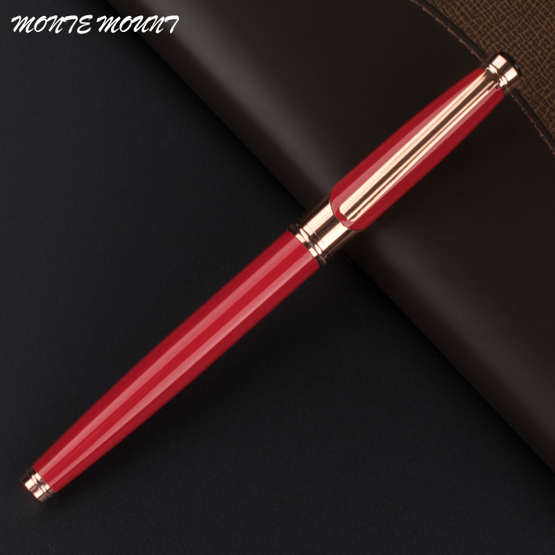 MONTE MOUNT High Quality Red Color Rose Gold Clip roller pen Without Pencil Box luxury Writing nice roller ball pen dikawen 891 gray gold dragon clip 0 7mm nib office stationery metal roller ball pen pencil box cufflinks for mens luxury